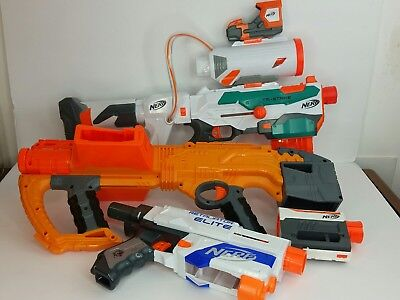Nerf Gun Blaster Lot Modulus Tri-Strike, Double Dealer, Retaliator Elite