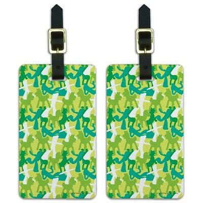 Gumby Pokey Silhouettes Green Pattern Luggage ID Tags Cards Set of 2