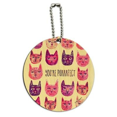 You´re Purrrfect Perfect Cat Heads Round Wood Luggage Card Carry-On ID Tag