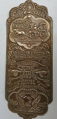 Vintage Door Plaque Firehouse  Keep Clear Solid Brass