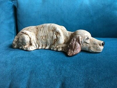 vintage setter hunting dog statue estate item ceramic