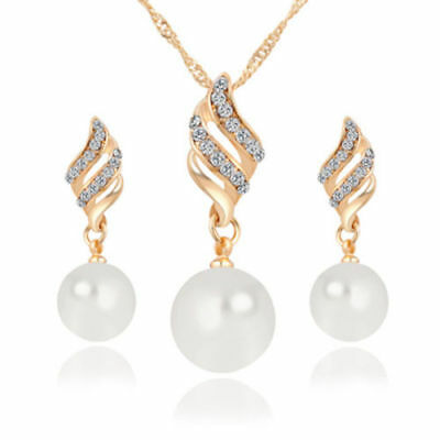 New Gold Spiral Crystal & Pearl Pendant Necklace & Stud Dangle Earrings Set
