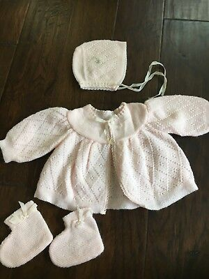 Vintage Baby Girl Pink Sweater Booties And Bonnet Infant Size