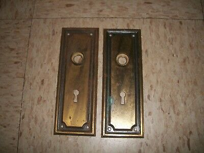 Lot of 2 vintage Brass Door Plates w Skeleton Key Holes w design boarder