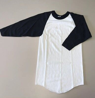 Lot of Five NOS Russell Vintage 80s Black White BLANK RAGLAN S T-shirt Jersey