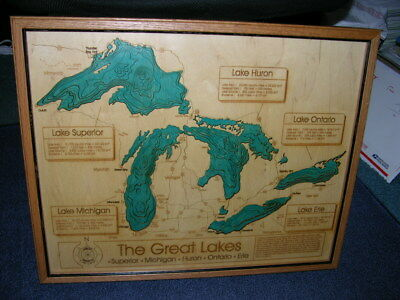 """The Great Lakes Laser Cut 3-D Wood Map Showing Water Depths & Cities 17x21"""" Oak"""