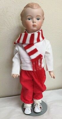 German Character Boy doll  antique reproduction  Porcelain Head  Compo Body 16 ""