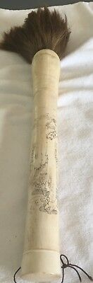 Vintage Asian Calligraphy Brush - Images Lovingly Etched Finely into Bone