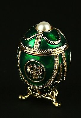 """St Petersburg Russian Faberge Egg: Empire Eagle with Pearl Trinket Box 1.6"""""""