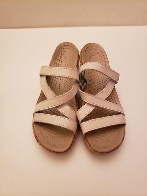 Crocs Womens Wedge Sandals mule slip on  White Straps Cork Comfort Casual Size 8