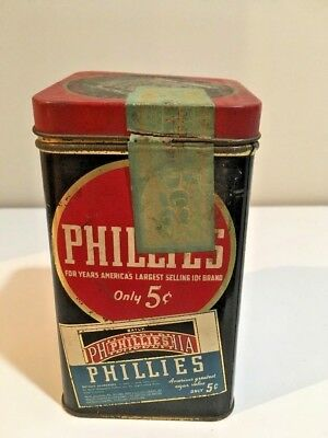 Vintage Phillies 5 cent cigar tin (empty) with Original Tax Seal/Stamp