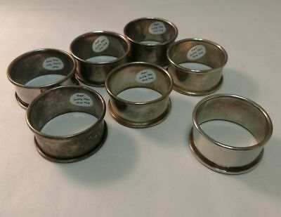 Vintage Antique Lot Of 7 Regal Quality Silver Napkin Rings Anb