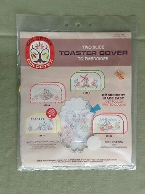 Vintage Colorex Two Slice Toaster Cover Embroider #3282D New In Package