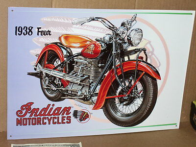 1938 INDIAN FOUR - OLD Motorcycle SIGN Dated '96 - SHOWS CLOSE-UP of the DETAILS