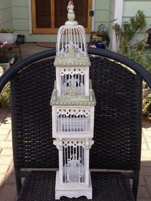 VINTAGE CHARMING WHITE and GREEN, METAL AND WOOD, DECORATIVE HANGING BIRD CAGE