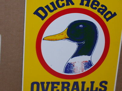 DUCK HEAD OVERALLS -Union Made Since 1865- PORCELAIN Country Hardware Store SIGN