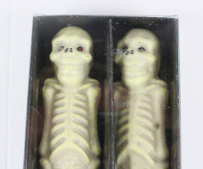 "Vintage Pair of 1999 Department 56 Halloween Skeleton Taper Candles, 10"", NOS"