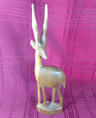 African Gazelle Impala Antelope Sculpture Hand Carved Wooden Figurine Statue