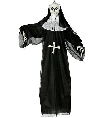 Wandbehang 90cm Skelett Nonne Requisite Halloween Party Deko Totenkopf Licht &