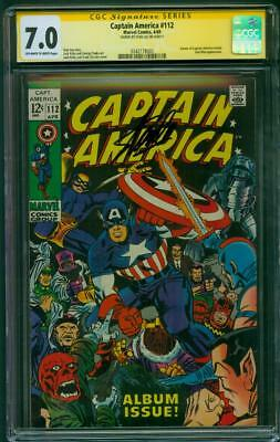 Captain America 112 CGC 7.0 SS Stan Lee Signed 1969 Album Issue Jack Kirby art