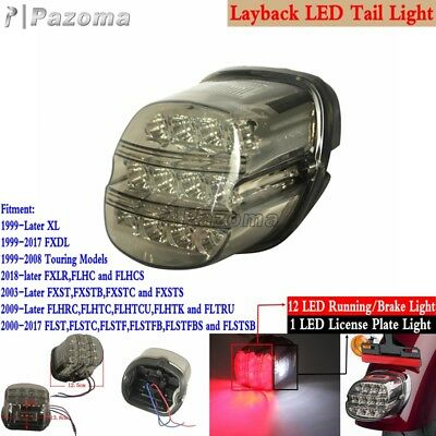 Layback LED Tail Light Brake Running License Plate Lamp For Harley XL 99-Later