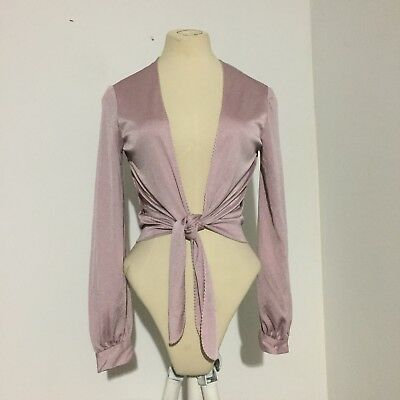 Purple Vintage Shimmery Tie Front Top, Size S