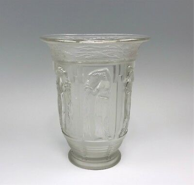 Vintage Frosted Glass Vase w/ Relief Images of Classical Woman Pouring From Jugs