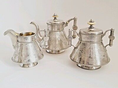 19C Antique Russian Silver Pan Slavic Engraved Tea Coffee Set