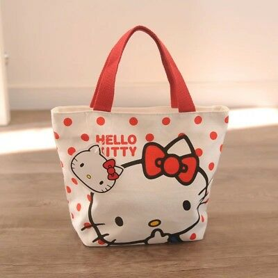 New Cute Hello Kitty Meow Girl Lunch Bag Canvas Tote