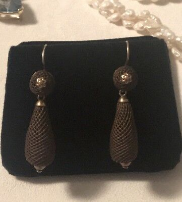 Antique Victorian 12k gold  day night mourning woven hair earrings