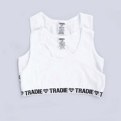 Girls Tradie 4 Pack Cotton Crop Top Sports White Design (SJ2) LAST ONES