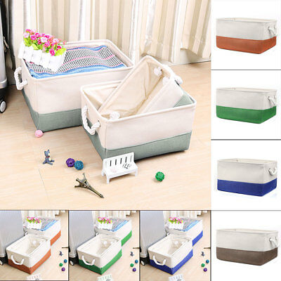 Foldable Fabric Storage Basket or Bin Box with Cotton Handles for Closet Shelves