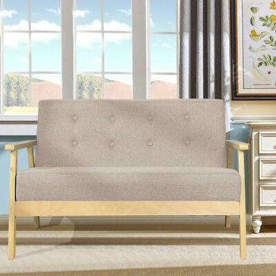Fabric Wood Retro Sofa Apartment Loveseat Couch Armchair Chairs Double Seater UK