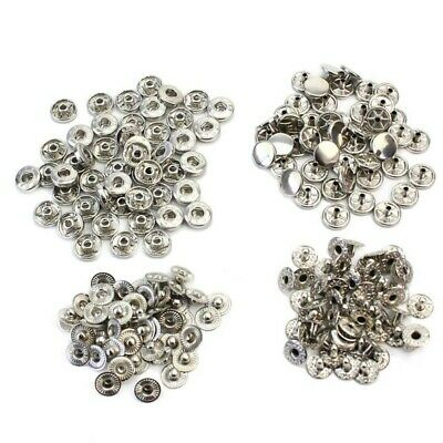 50 Pcs 10mm Silver Tone Metal Snap Press Fasteners No Sewing Buttons Studs New