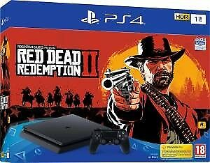 Nuova Sony PS4 CONSOLE 1TB F CHASSIS SLIM BLACK + RED DEAD REDEMPTION 2 offerta