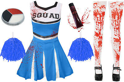 Adult Ladies Blue Zombie Cheerleader Halloween Horror Fancy Dress Costume Outfit