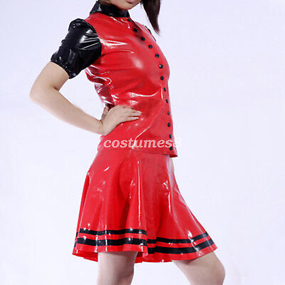 New Latex 100% Rubber Women  Buttoned Jacket and Mini Skirt Set Size  S-XXL