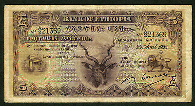 VERY SCARCE 5 Thalers Bank of Ethiopia 1933 Banknote Nearly Fine A/2 21369
