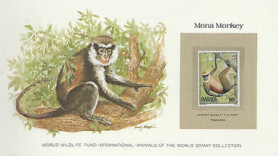 Wwf - Animals Of The World Stamp Collection - Rwanda - Mona Monkey