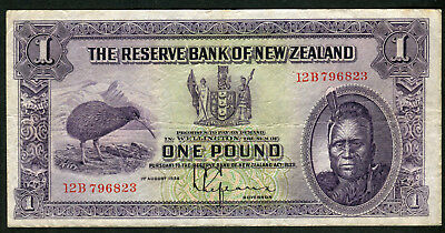 Very Scarce One Pound New Zealand 1934 aVF Number Letter 12B 796823
