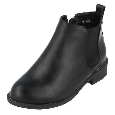 H5R039 Girls Spot On Zip Up Low Block Heel Casual Winter Chelsea Ankle Boots