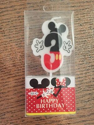 Candelina Candela Compleanno topolino 3 mickey mouse Happy Birthday Party