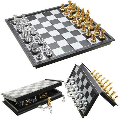 Children Chess 32 Pieces Foldable Silver Gold Box Educational Traditional Toy
