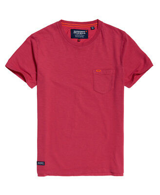 New Mens Superdry Dry Originals Pocket T-Shirt Sunset Red