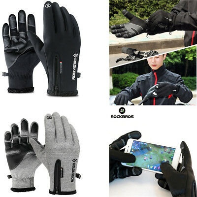 ROCKBROS Touch Screen Glove Bike Cycling Gloves Winter Thermal Warm Full Finger