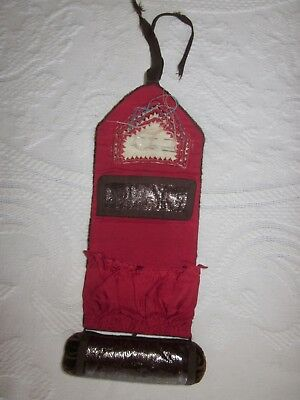 Shaker Sewing Roll Up Pin Cushion Thimble Holder Leather circa 1880