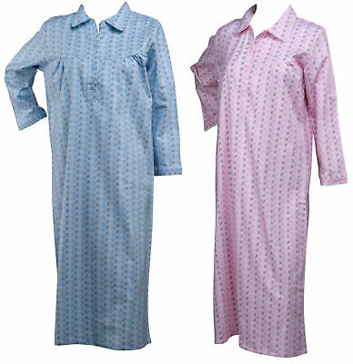 Ladies Floral Leaf Soft Brushed Cotton Nightdress Womens Long Sleeved Nightie