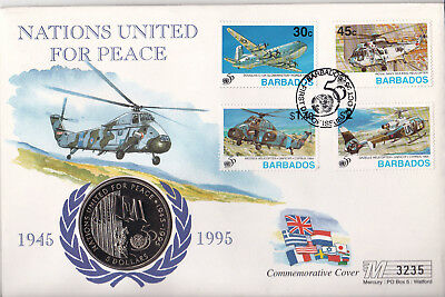 1995 United Nations 50th Anniversary - Commemorative Coin Cover from Barbados