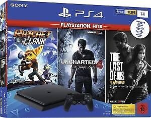 Nuova Sony PS4 CONSOLE 1TB SLIM + UNCHARTED 4 + RATCHET & CLANK + THE LAST OF US