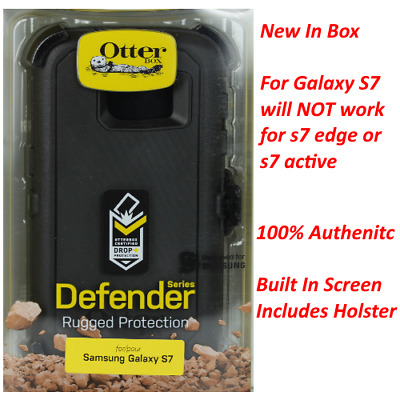 New OtterBox Defender Series Black Case & Belt Clip For Samsung Galaxy S7